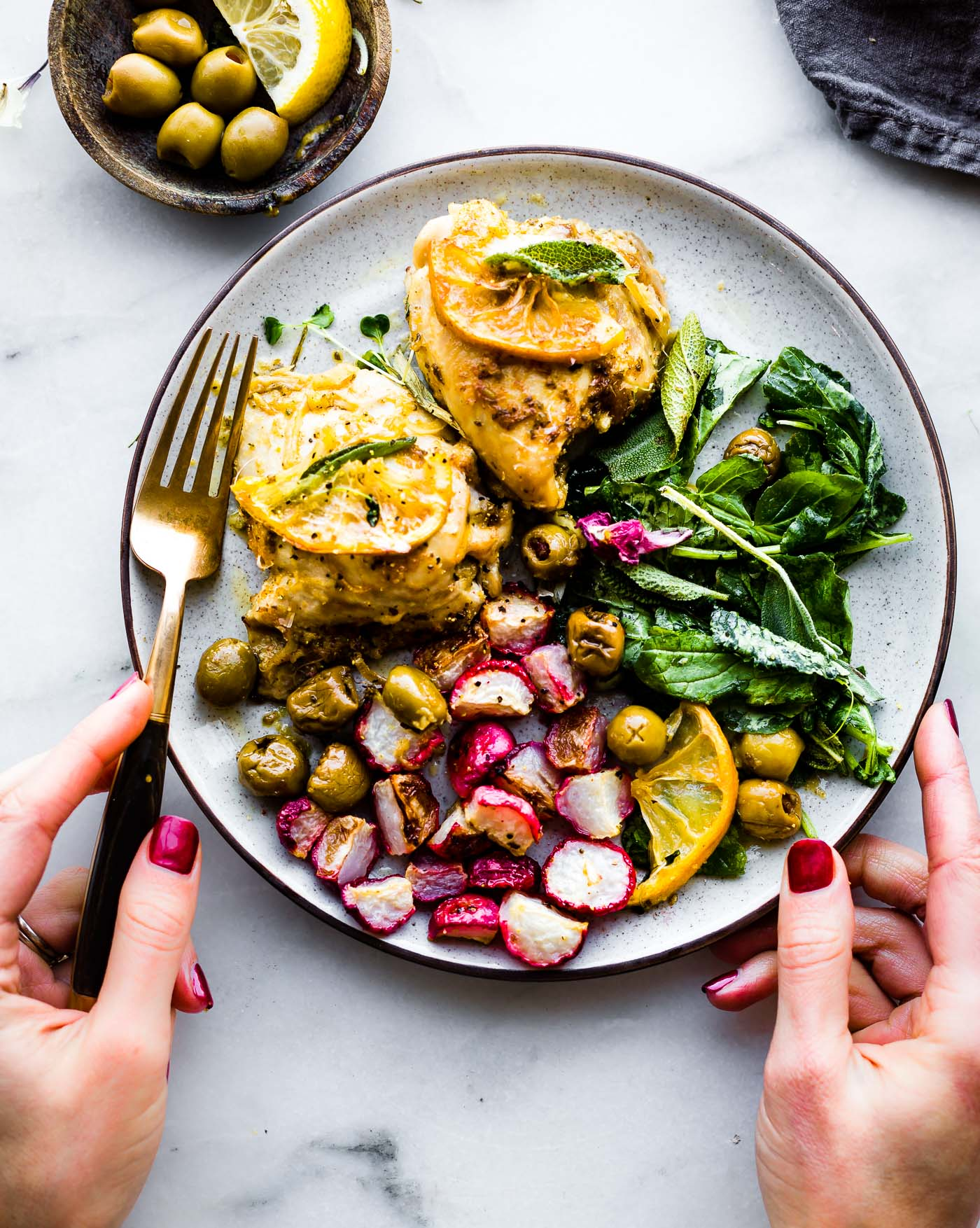 One Pan Lemon Sage Baked Chicken and Olives with radish