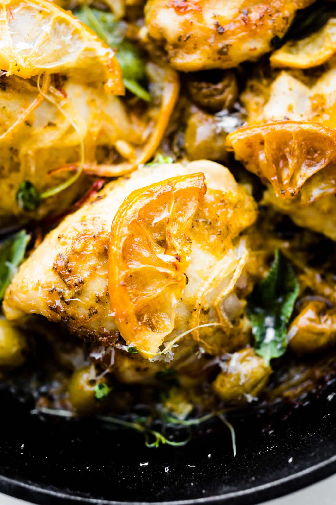 One Pan Lemon Sage Baked Chicken and Olives {Paleo}