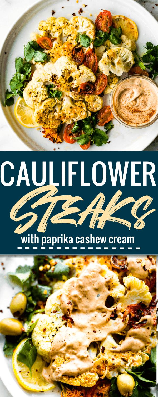 roasted cauliflower steaks with cashew cream sauce