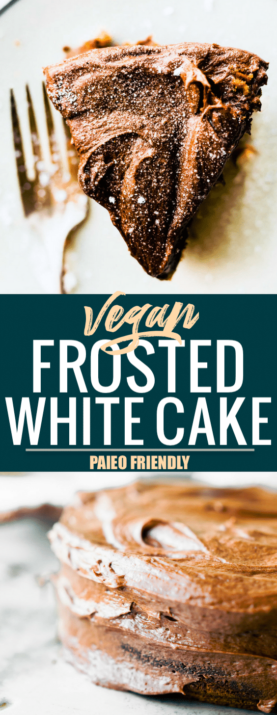 What's the best Vegan White Cake recipe? It's this one with Chocolate Coconut Frosting! Celebrate any occasion with this classic white cake; paleo friendly. Easy to make, soft and moist. A white cake without eggs or dairy! The frosting is made with just coconut cream and cocoa to give a chocolatey decadent taste. #vegan #cake #paleo #dessert