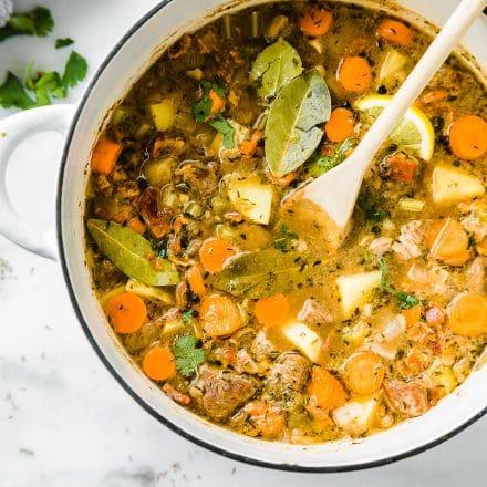 One Pot Bacon Braised Lamb Stew {Paleo Friendly}