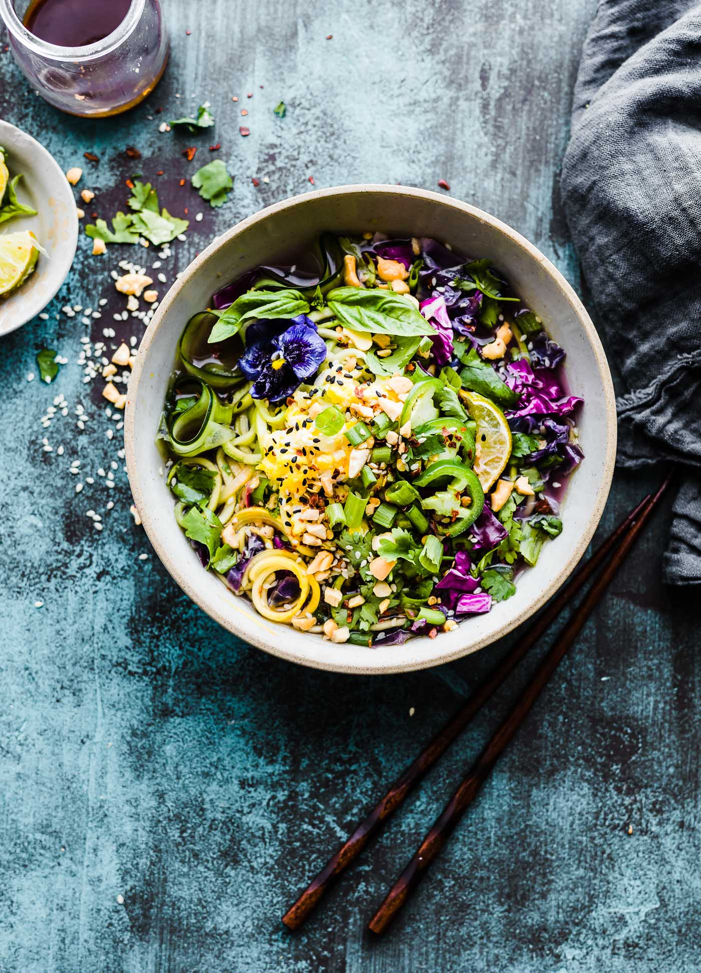 Asian-Inspired Zoodle Flu Buster Soup with chopsticks