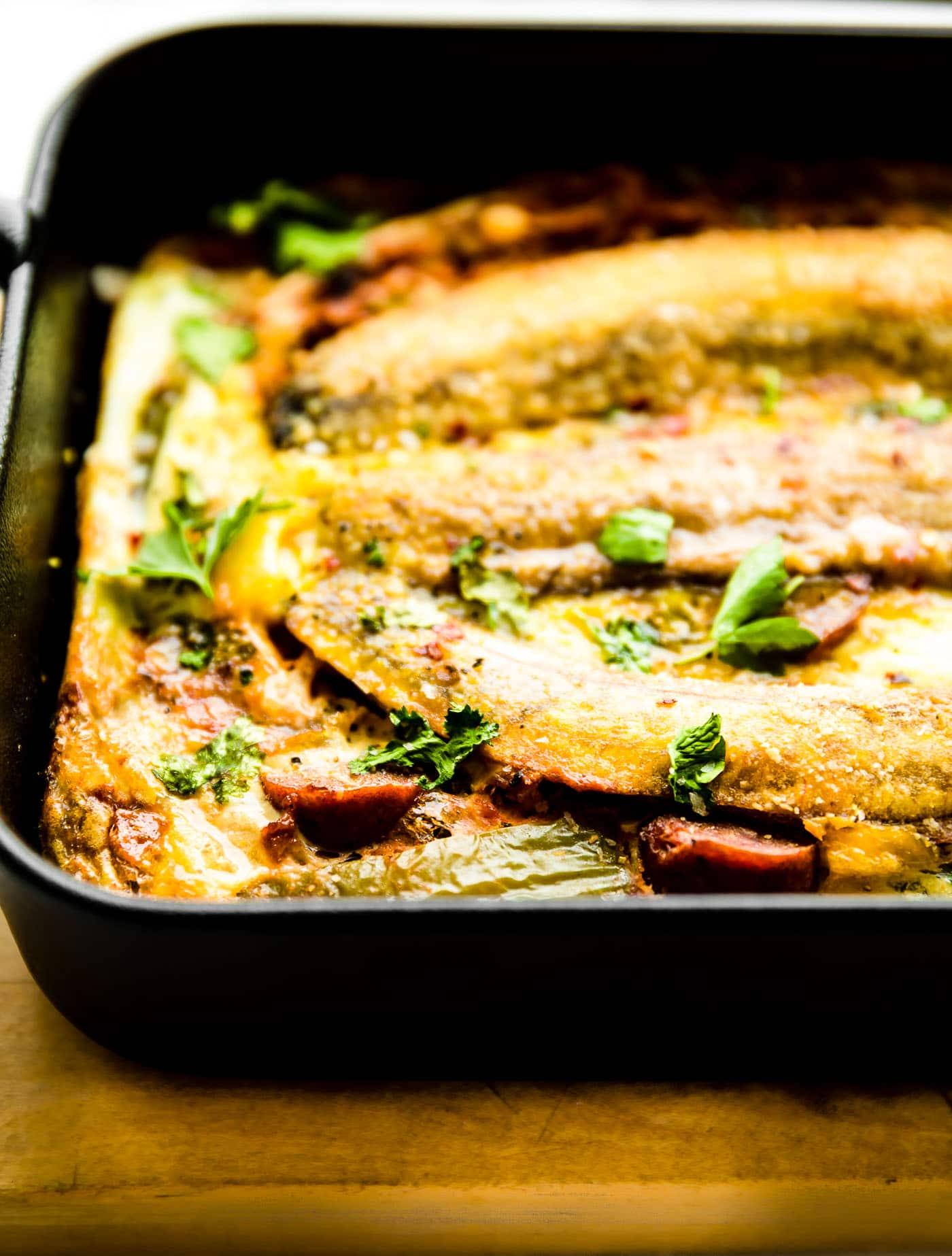 Puerto Rican plantain breakfast lasagna