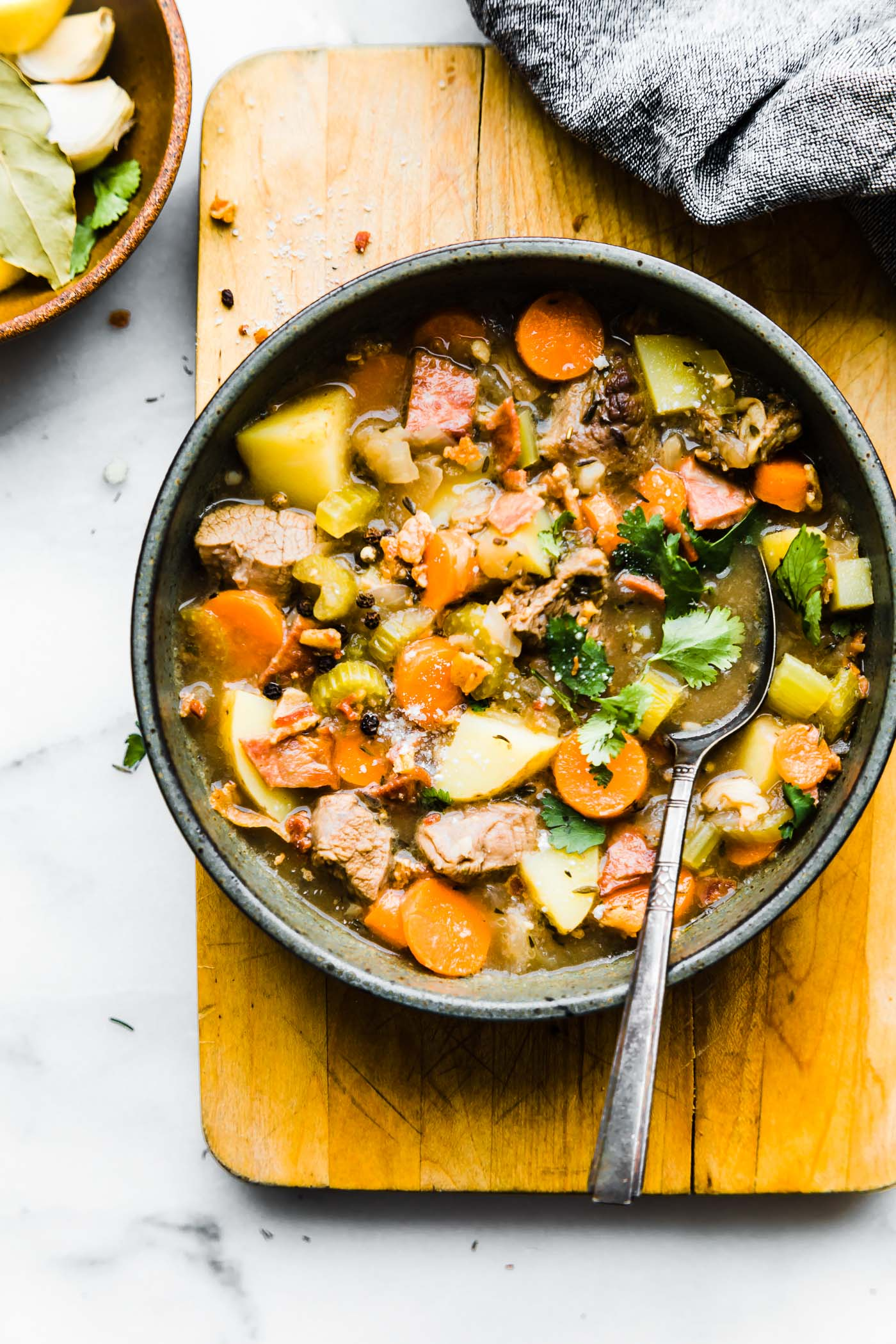 One pot Bacon Braised Lamb Stew