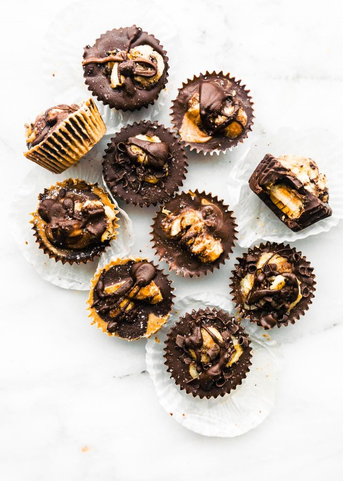caramalized banana almond butter cups paleo