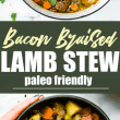 One pot Bacon Braised Lamb Stew! A paleo friendly Lamb stew full of wholesome vegetables and hearty flavor! Minimal ingredients and easy to make. Let's just say the bacon and lamb combo together do wonders. Great for family dinners, freezer friendly, and whole 30 option.