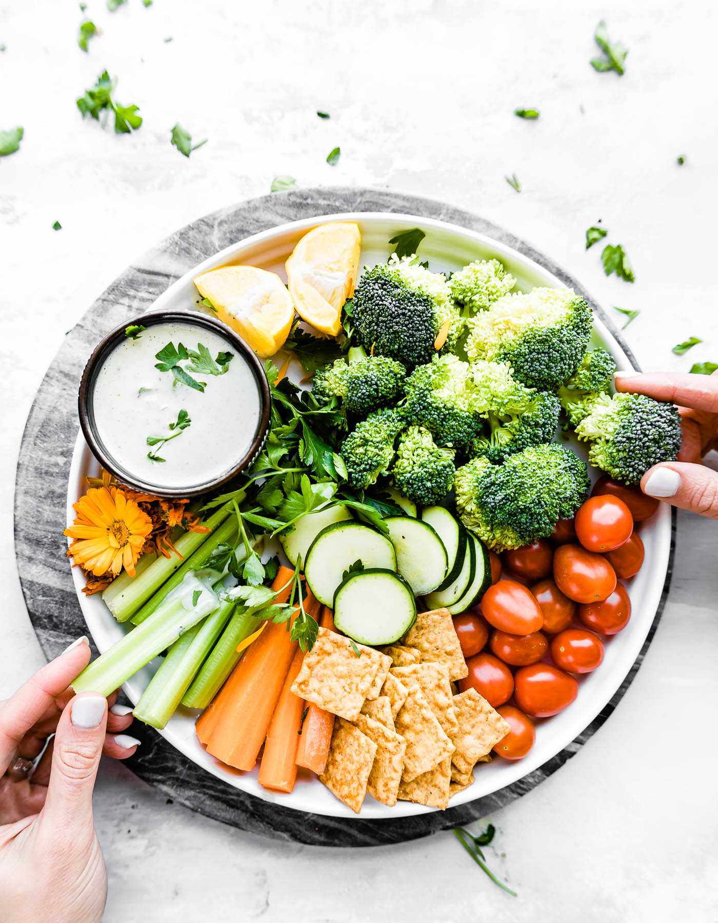 Quick Homemade Vegan Ranch Dressing and snack platter