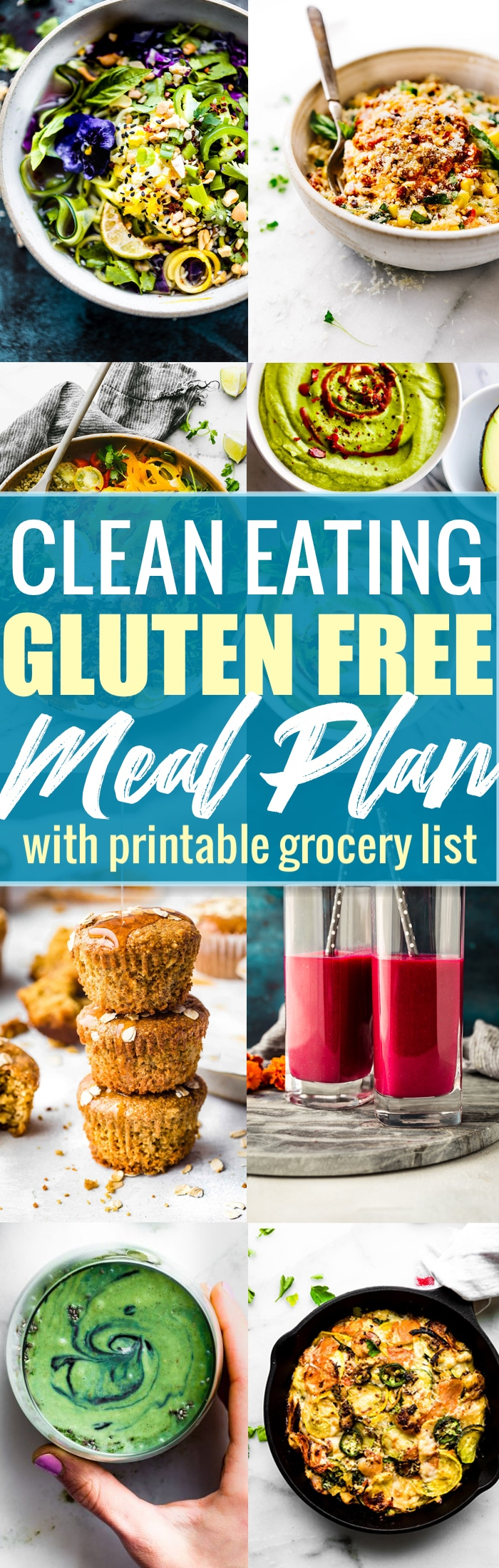 Clean eating gluten free meals that are made with seasonal ingredients, are refined sugar free, and of course, delicious! The recipes in this CLEAN EATING gluten free meal plan will give you a boost of nutrients from real food while also limiting extra sugars. #cleaneating #glutenfree #mealplan.