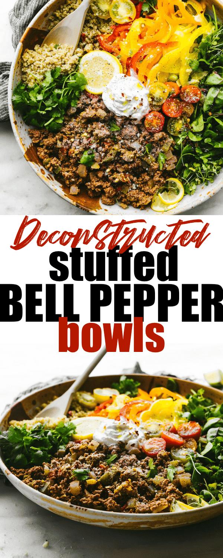 deconstructed stuffed bell pepper bowls pins