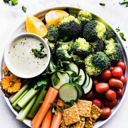 raw veggies with homemade vegan ranch dressing