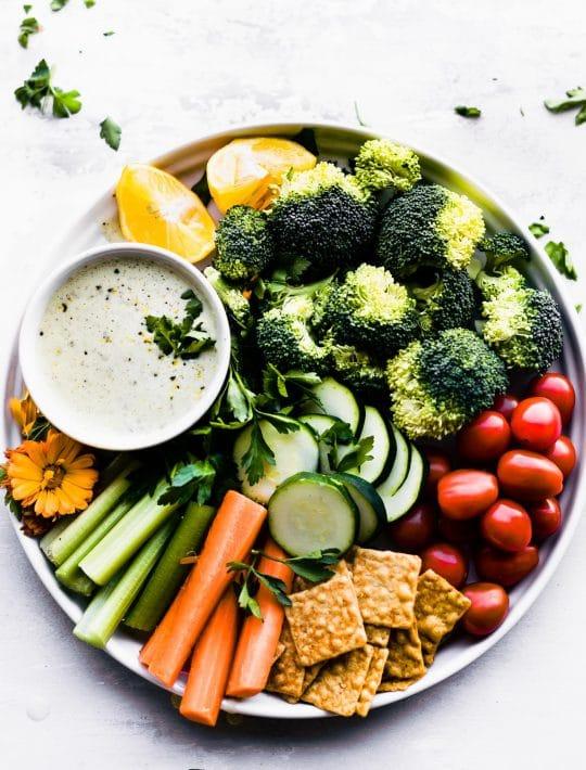 raw veggies with homemade vegan ranch dressing