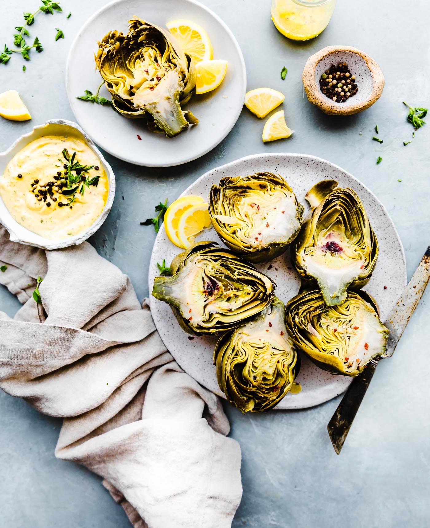 Steamed Artichokes served with Mediterranean Aioli