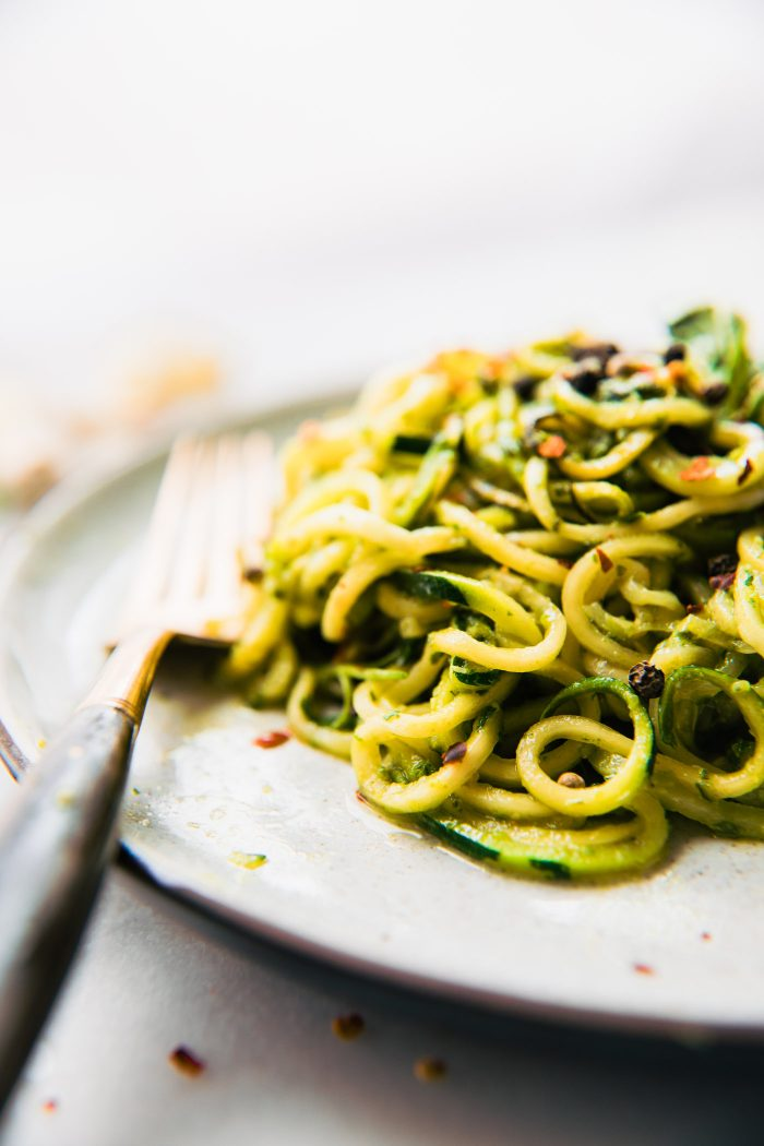 low carb zucchini noodles tossed with roasted poblano pesto