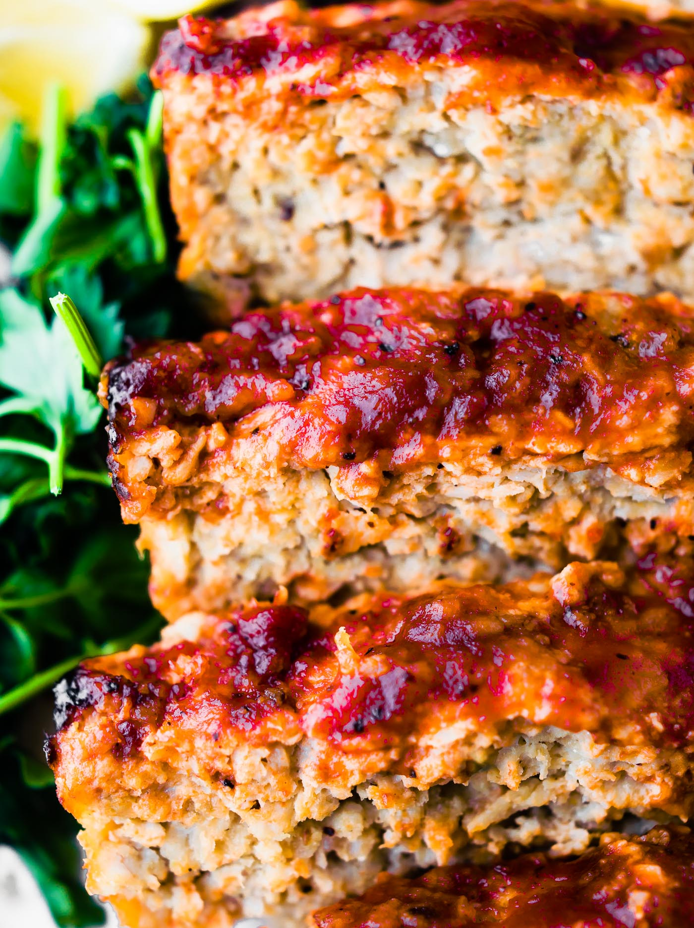 glazedBBQ meatloaf slices