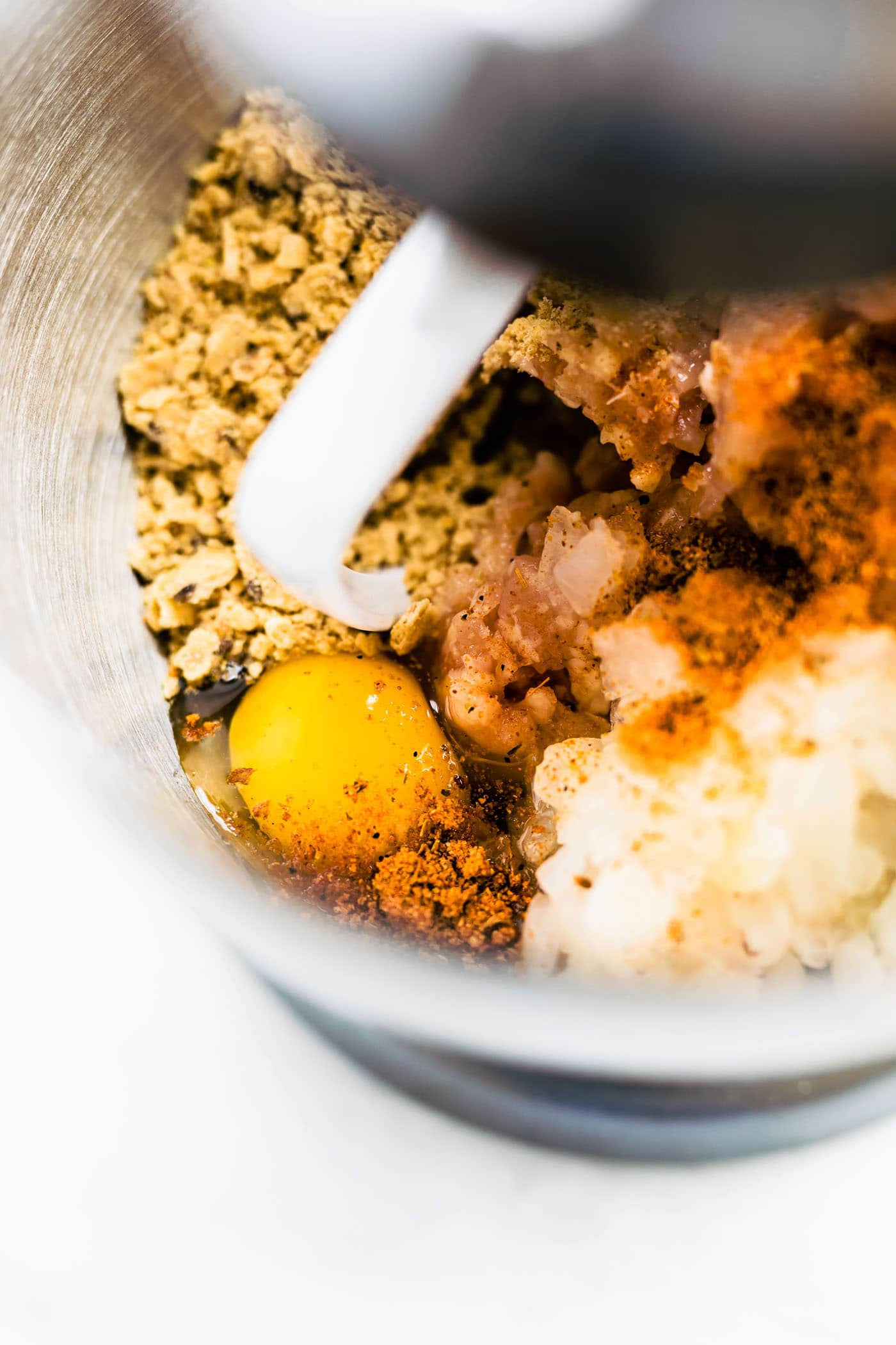 mixing ingredients for gluten free meatloaf without breadcrumbs