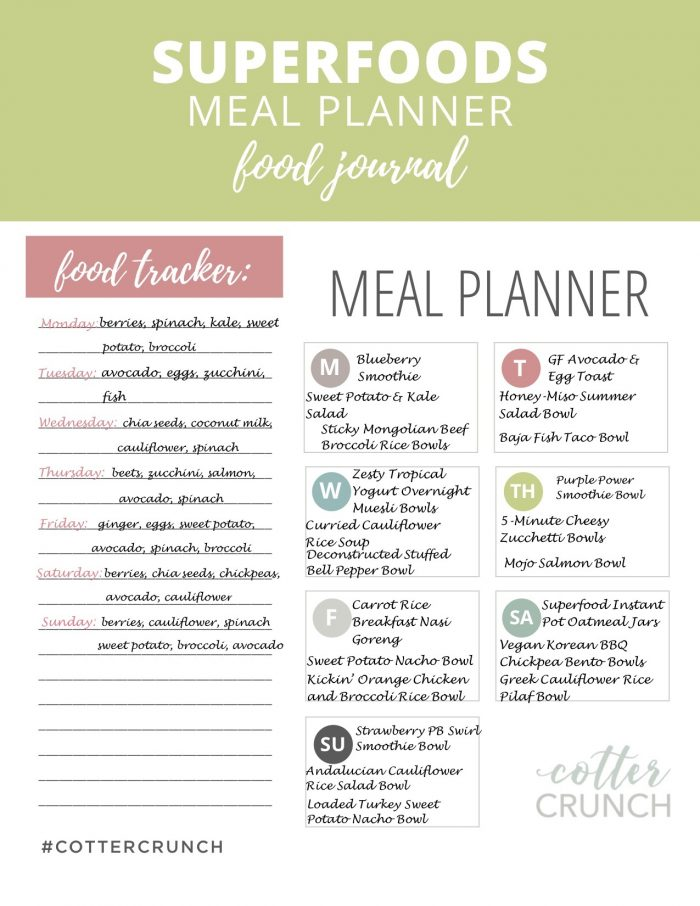 Gluten Free Superfoods Meal Plan tracker!