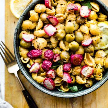 roasted radishes with lemony chickpea pasta