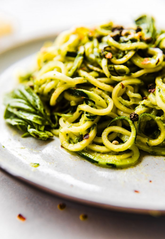 roasted poblano pesto zoodles