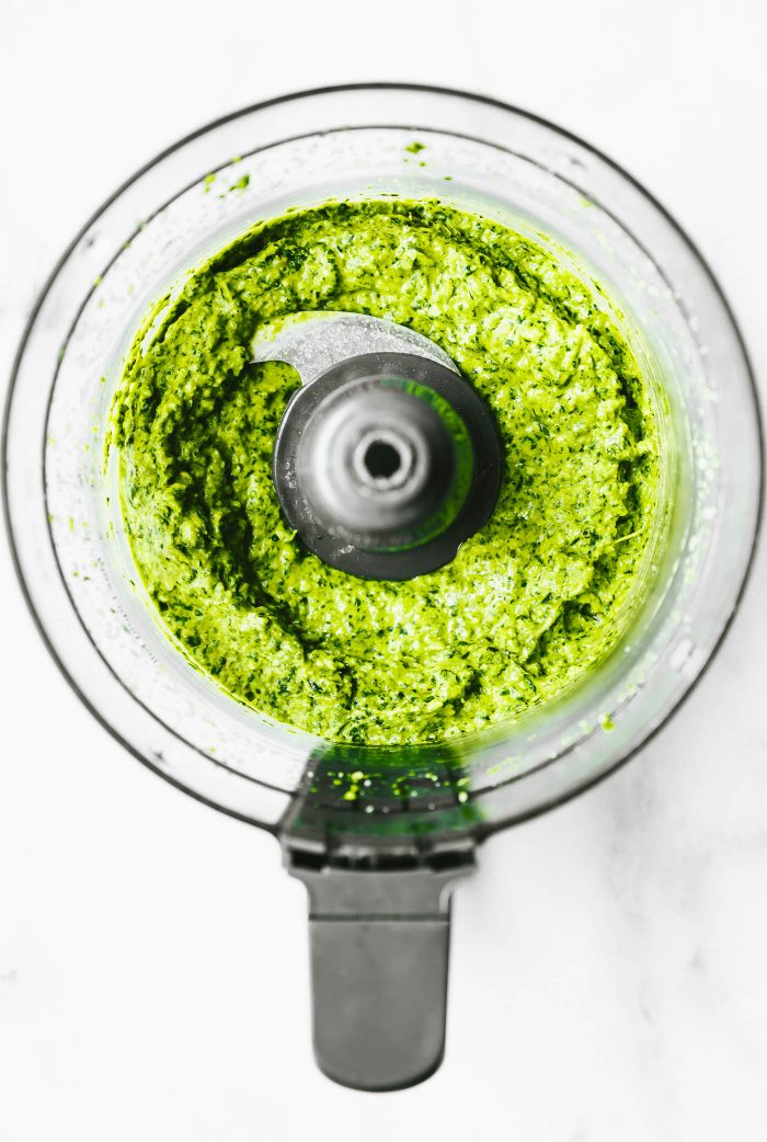 homemade spicy pesto in a food processor
