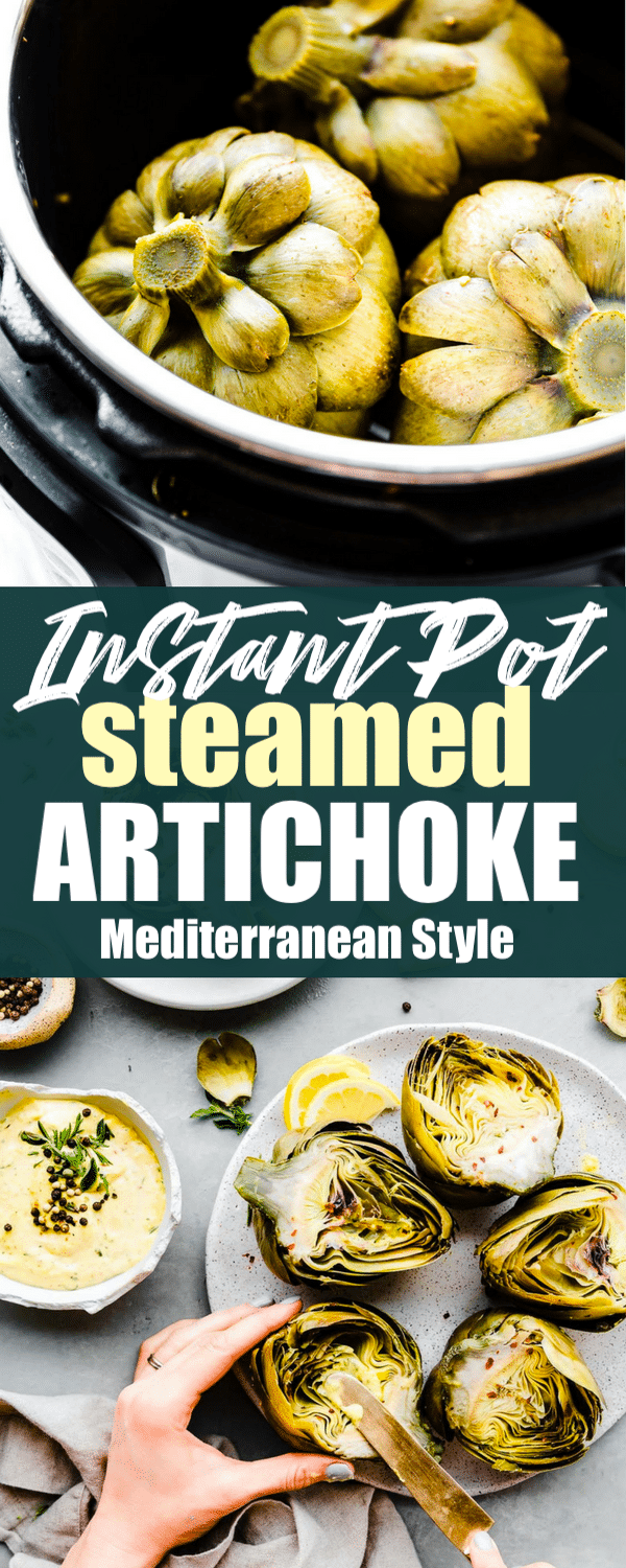 Steamed Artichokes with Mediterranean Aioli are not only easy to make, but delicious and nutritious! Did you know you could quickly steam artichokes in the Instant Pot? It's so easy! Just pressure cook artichokes in broth for 10 minutes and they come out perfectly tender and flavorful! Bonus; we're sharing a go-to side Spring dish recipe and why adding this Mediterranean superfood to your meal plan is will boost your health! Paleo friendly, vegan option!