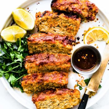 slices of barbecue gluten free meatloaf on a dinner plate