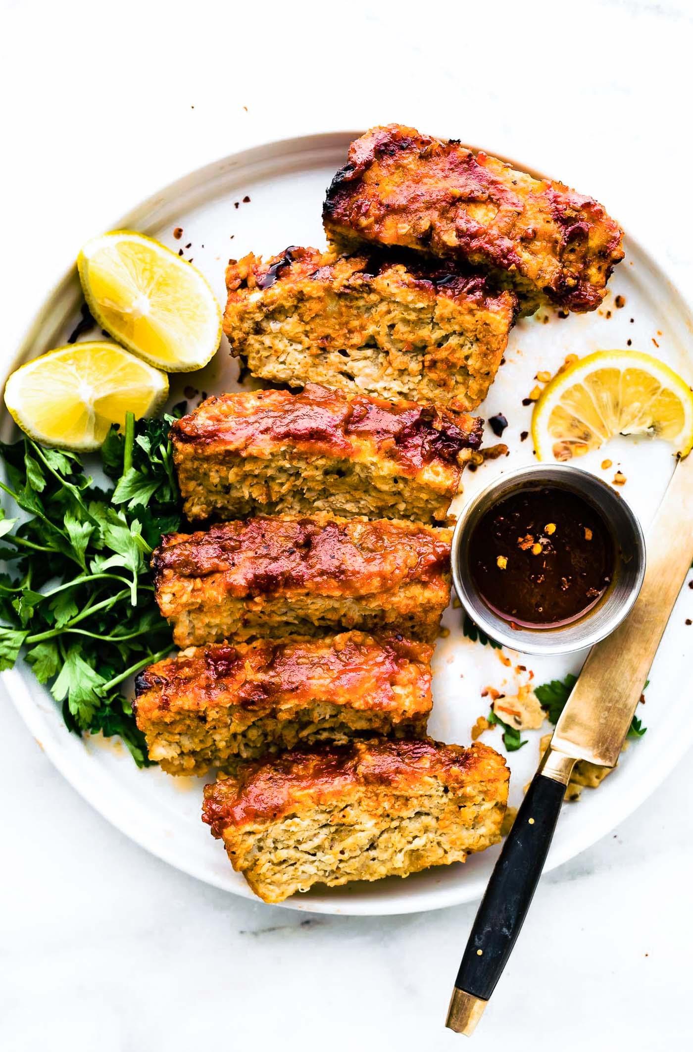 slices of glazedBBQ meatloaf plated
