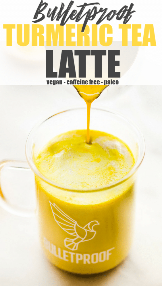 Boost your health with a turmeric tea latte! This caffeine free bulletproof