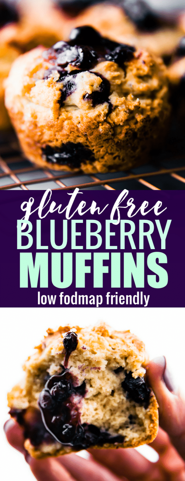 Gluten free blueberry muffins that are low fodmap make for a delicious and healthy breakfast or snack. Easy to make, fluffy gluten free muffins, packed with antioxidant-rich blueberries.If you suffer from digestive issues, this low fodmap muffins recipe is going to be your favorite way to start a day! #muffins #glutenfree #lowfodmap #baking.