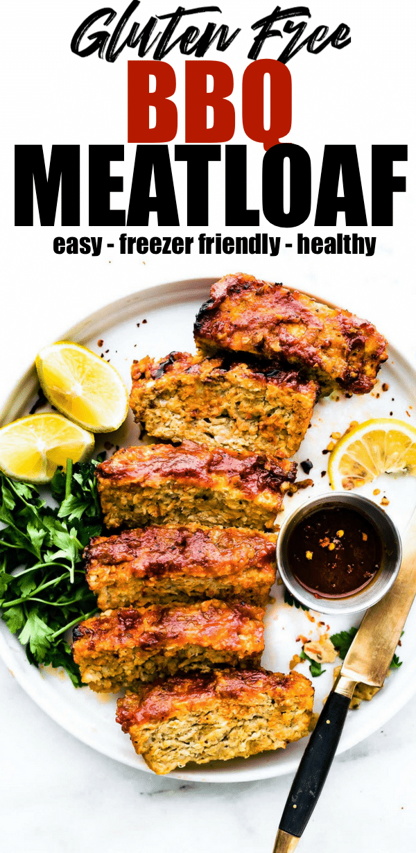 a glazed BBQ meatloaf without bread crumbs. Yep, this gluten free meatloaf recipe can be made with ground chicken, turkey, or lean beef! It's lighter than the original comfort food dish, it's easy to make, and just plain delicious! You'll find out my trick to make this flavorful without bread below. #Paleo Option #glutenfree #dinner #healthy
