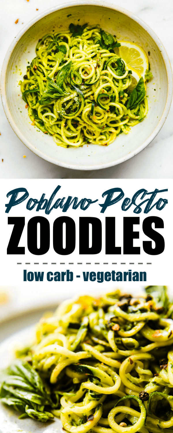 Roasted Poblano pesto zoodles are a light, fresh tasty take on pesto. Perfect for a low carb spring or summer meal. #vegetarian #lowcarb #healthy