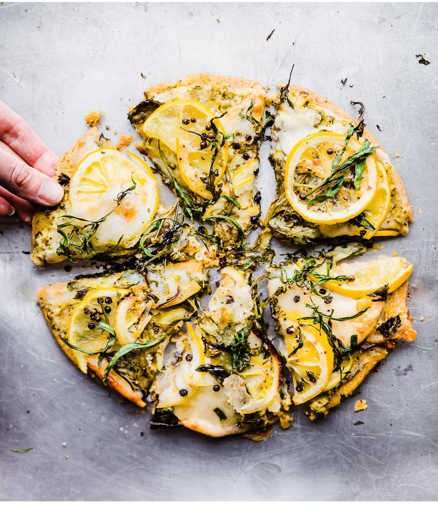 LEMONY HERB SOCCA (FARINATA)! Flatbread or Pizza, you choose your style! Either way, this vegetarian recipe is zippy, zesty, and great as an appetizer, light meatless meal. Grain free with vegan option.#vegetarian #pizza #glutenfree #grainfree #healthy