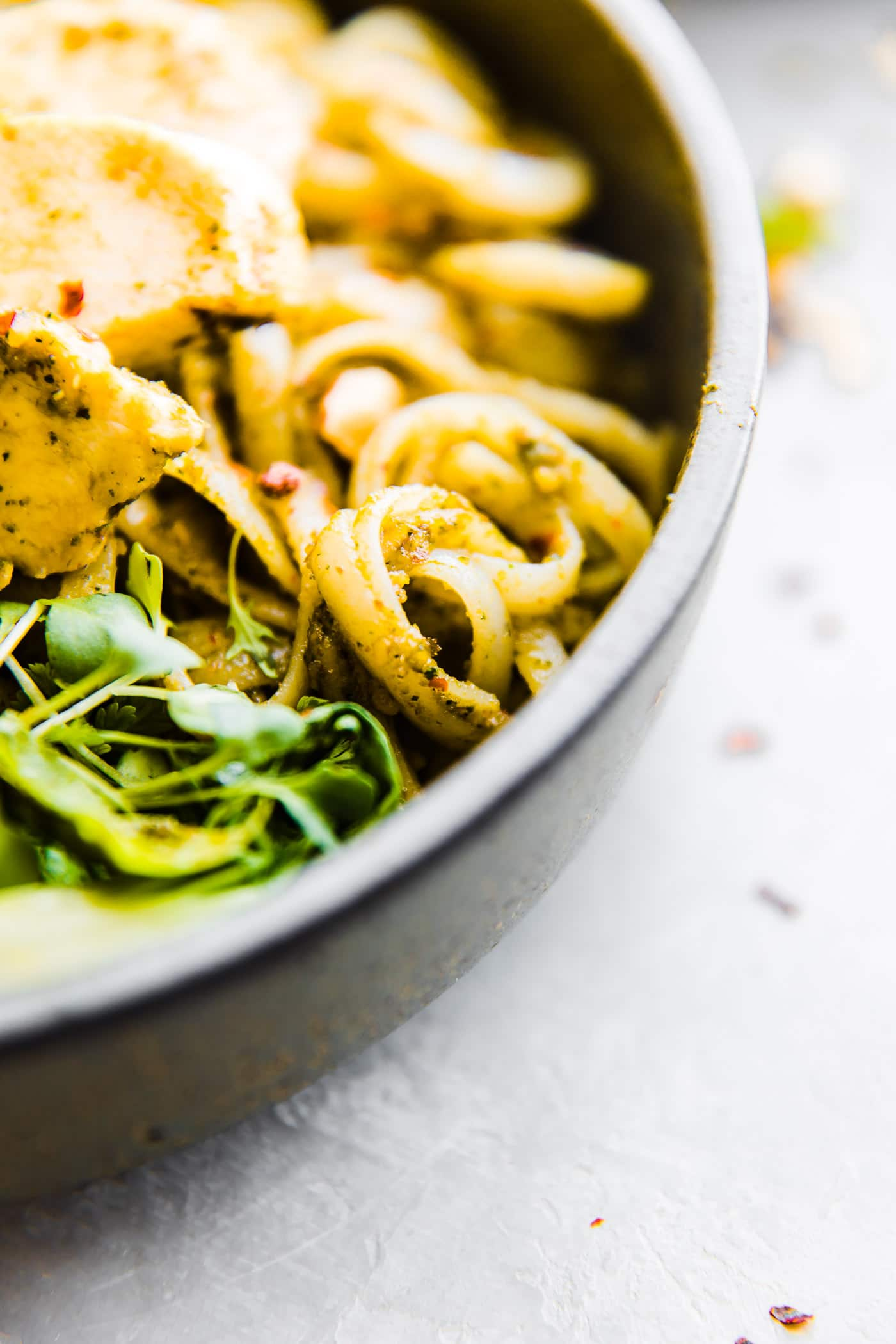 gluten free noodles with spring pesto sauce