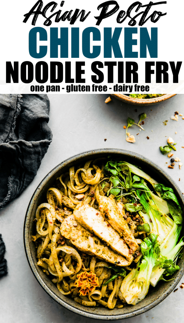 Asian Pesto Chicken Noodle stir fry! These gluten free chicken pesto noodle bowls are delicious and easy to make in one pan! The Asian Thai basil pesto brings a kick of flavor and a dose of Healthy antioxidants!  A dairy free chicken dinner that's ready in less than 45 minutes and great for a hungry crew!  #stirfry #asian #glutenfree #cleaneating #healthy #onepan #dairyfree