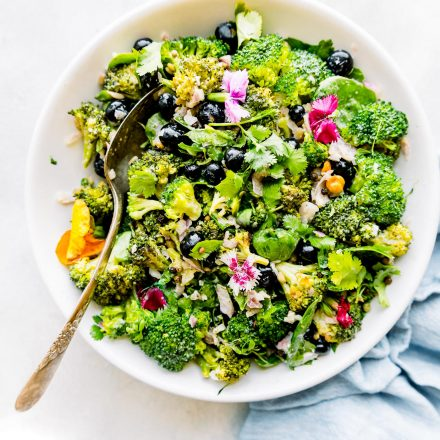 bowl of broccoli salad recipe without mayo