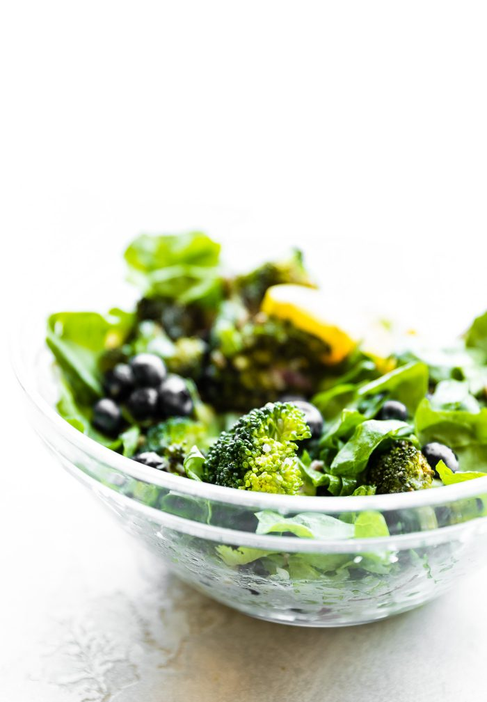 Detox Broccoli Salad in glass bowl