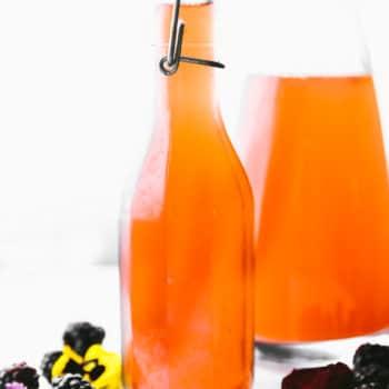 homemade Fruit kvass in glass decanter