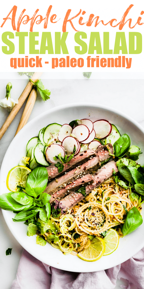 spiralized apple kimchi salad with beef steak #paleo #salad #healthy