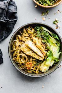 Asian Pesto Chicken Noodle Stir Fry {Dairy Free}