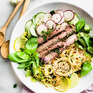 spiralized apple kimchi salad with beef