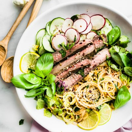 QUICK Spiralized Apple Kimchi Salad with Beef