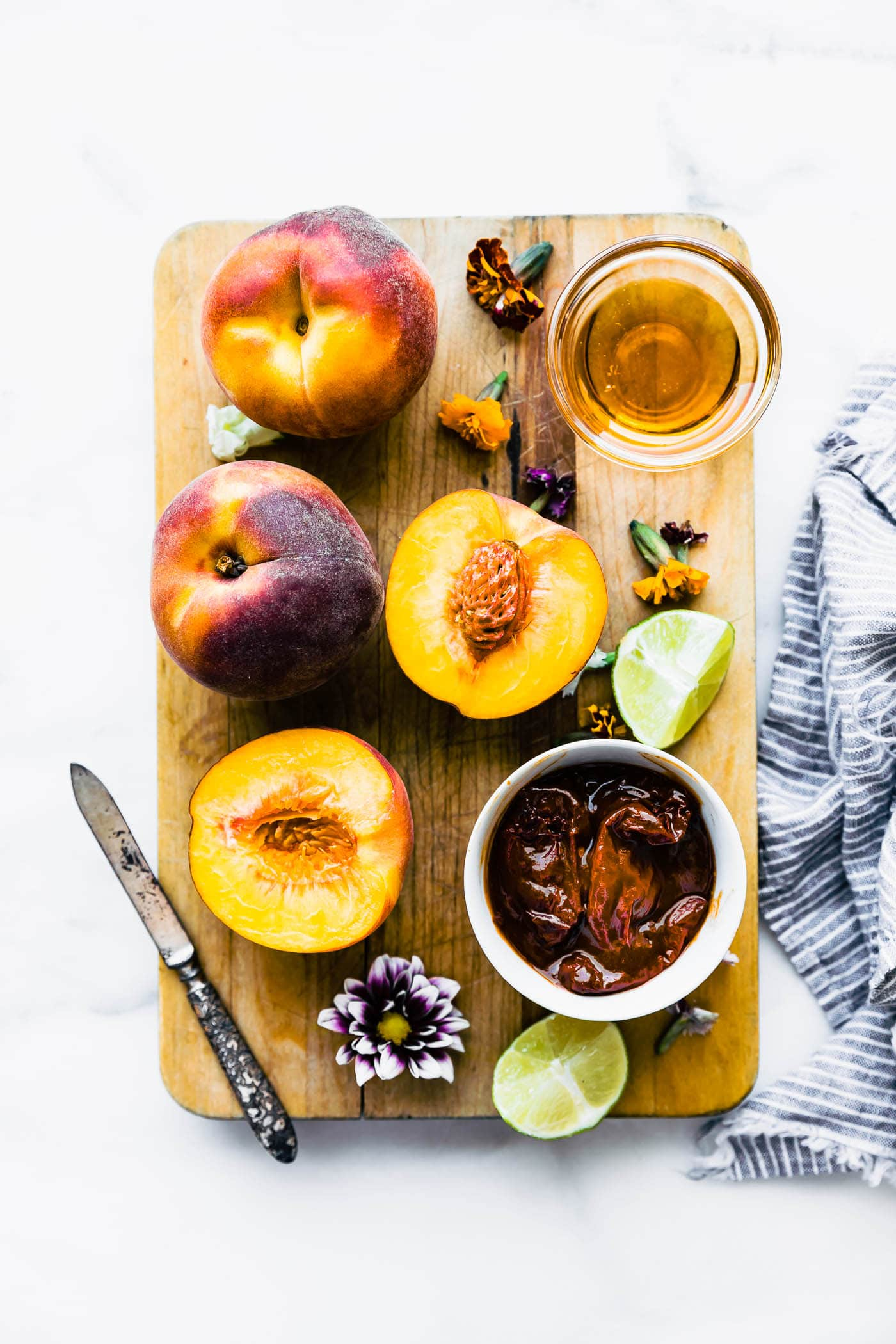 This homemade chipotle peach recipe. Ingredients on a cutting boardr