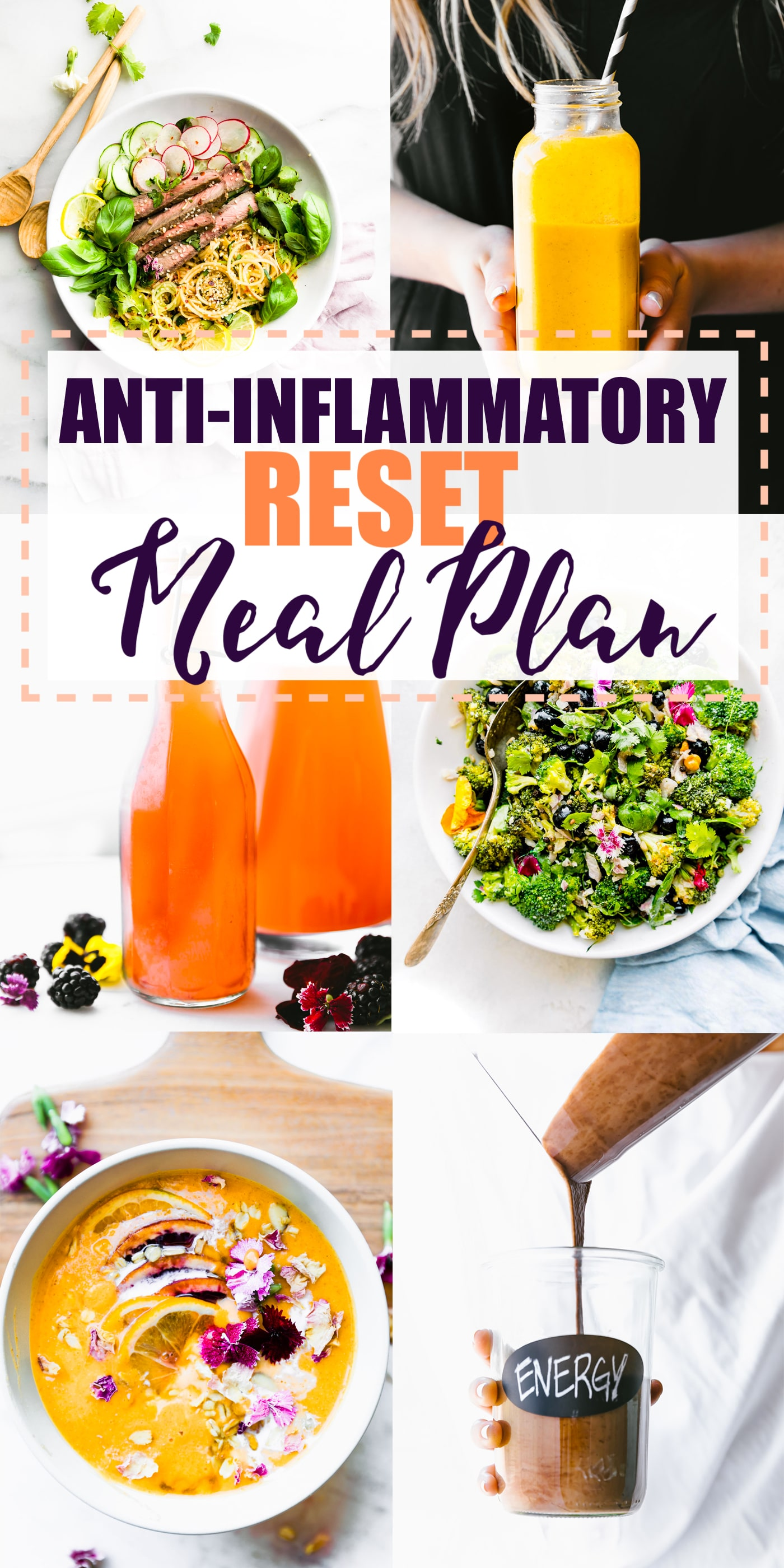 The anti-inflammatory diet meal plan is a simple, healthy meal plan to RESET your body from oxidative stress. If you're confused by the word anti-inflammatory, these healthy recipes are for you! Learn what foods help reduce inflammation and get delicious recipes to go along with it! #mealplan #antiinflammatory #diet #healthy
