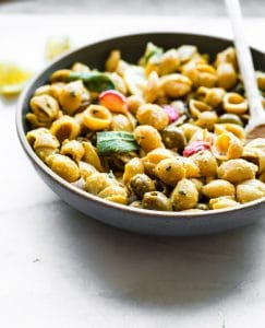 roasted radish chickpea pasta