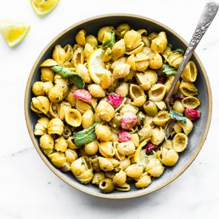 chickpea pasta with lemon herb sauce and roasted radish