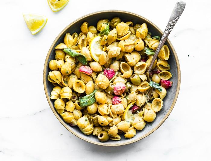 Roasted Radish Lemon Chickpea Pasta Vegan