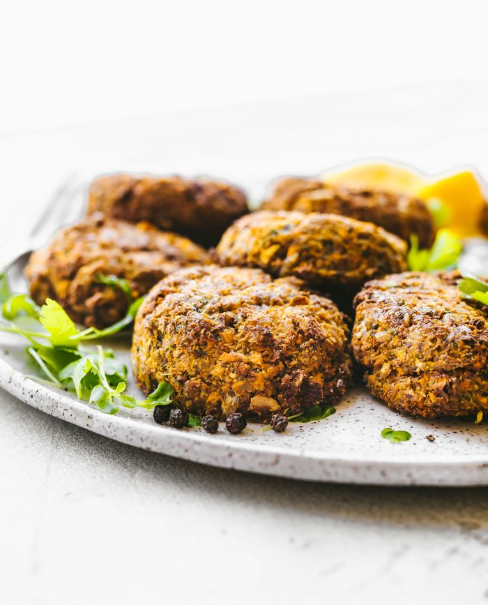Cilantro Ranch Sweet Potato Cauliflower Patties, baked or cooked in air fryer! Cauliflower patties that are delicious, quick, and #healthy! No eggs needed. #vegetarian #paleo {permalink}