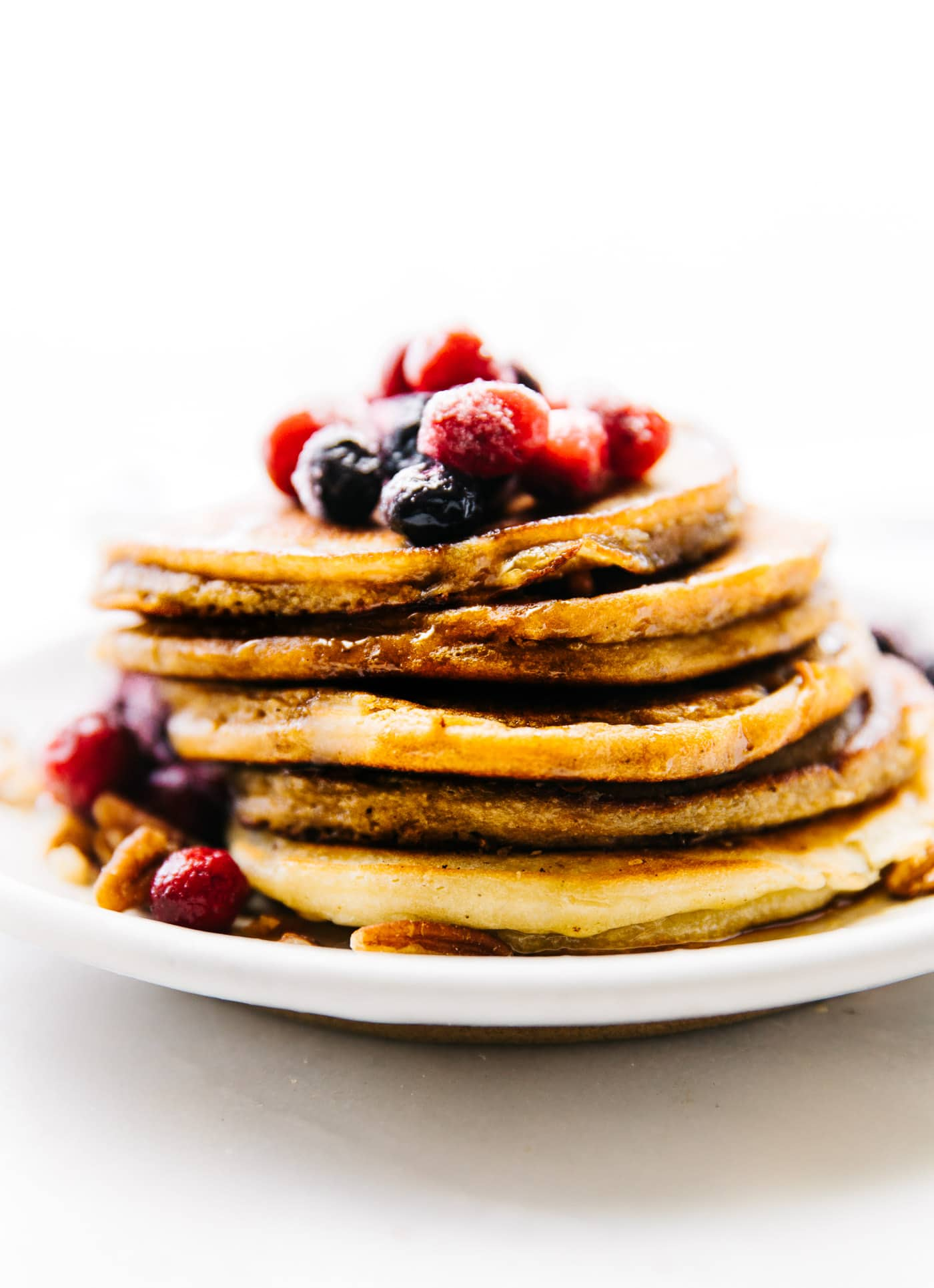 side view - stack of low carb pancakes made with coconut flour