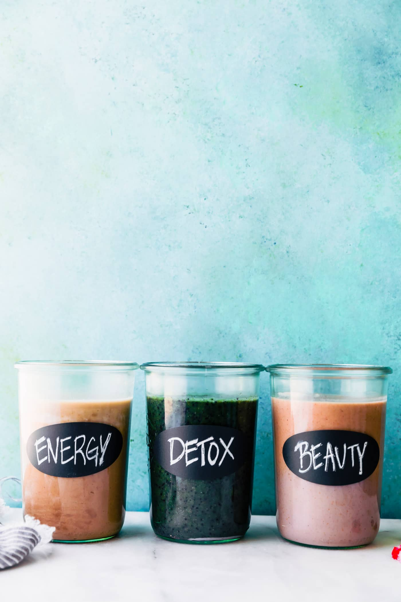 These 3 Make-Ahead Smoothie Packs are made using a variety of fruit, greens, Vital Proteins collagen, and other nutrient-rich ingredients. How to make DETOX, ENERGIZE, and BEAUTIFY SMOOTHIE PACKS