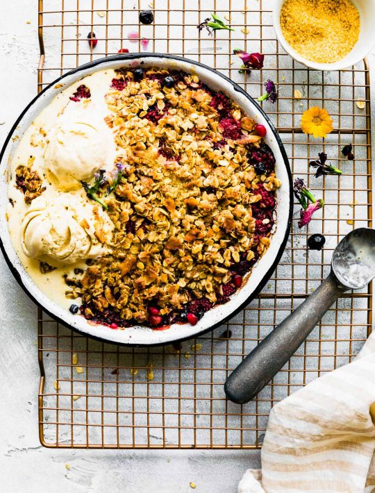 A delicious coconut mixed berry crisp e