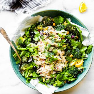 A lightened up no mayo Chicken Salad! A chicken salad bowl that's perfect for a healthy meal or side dish.